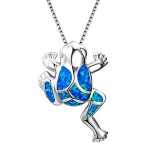 Other - Blue Opal Frog Pendant in silver alloy with chain
